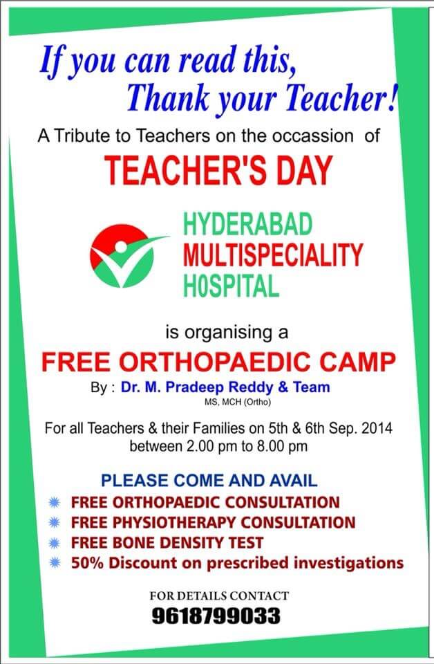 Organizing Orthopedic Health camps - Dr M Pradeep Reddy